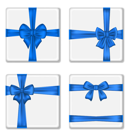 Illustration set gift boxes with blue bows isolated on white background - vector  Vector