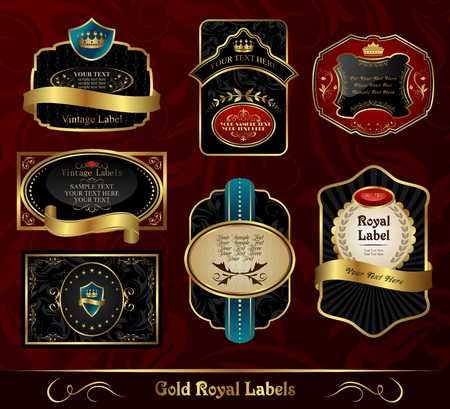 Illustration set black gold-framed labels - vector Stock Vector - 24379782