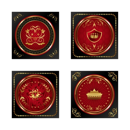 Illustration set red gold-framed labels - vector Vector
