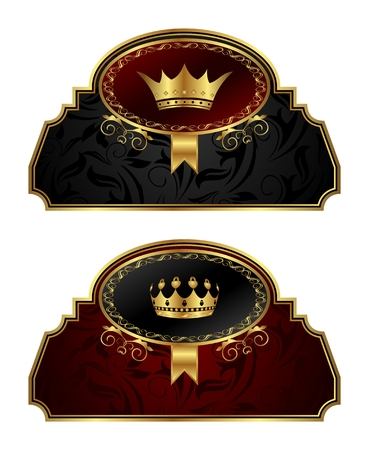 Illustration set gold vintage labels with crown - vector Vector