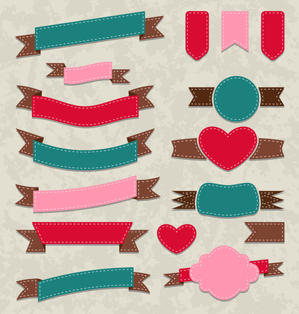 Illustration collection ribbons, vintage labels, geometric emblems - vector Vector