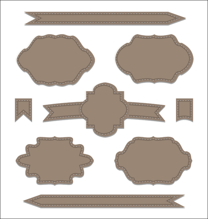 Illustration set leather ribbons, vintage labels, geometric emblems - vector Vector
