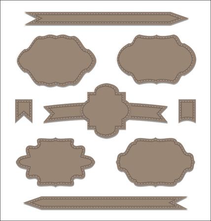 Illustration set leather ribbons, vintage labels, geometric emblems - vector Stock Vector - 24379815