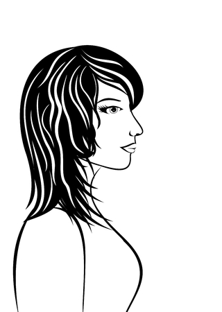 beauty face: Illustration abstract beauty face girl portrait - vector