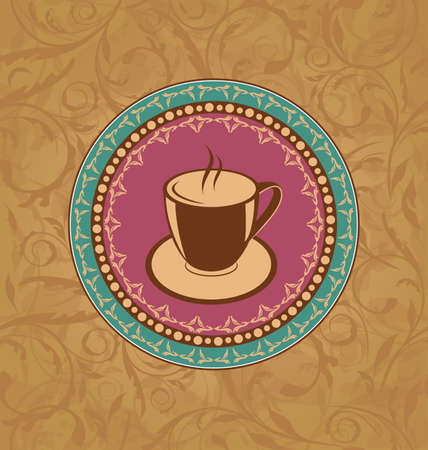 encasement: Illustration cute ornate vintage with coffee cup - vector Illustration