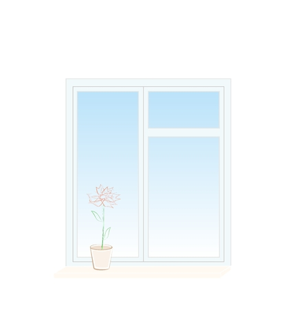 window sill: Illustration of flower in a pot on a window sill isolated on white background - vector Illustration