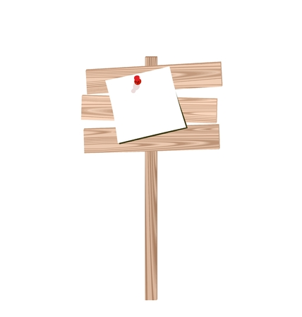 Illustration of wood billboard with attached blank paper isolated on white background - vector Vector