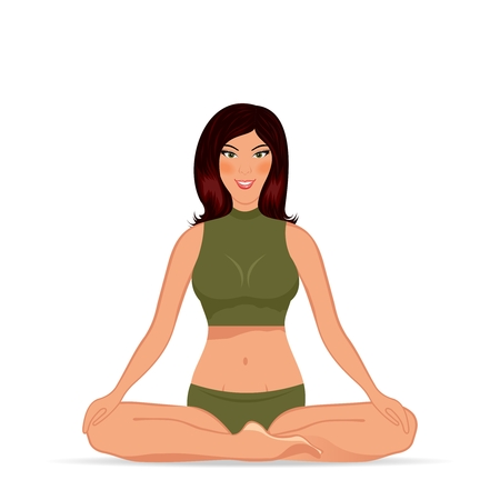 Illustration young woman doing yoga exercise - vector Vector