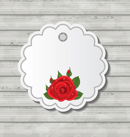 Illustration card with red rose for Valentine Day on wooden texture Vector