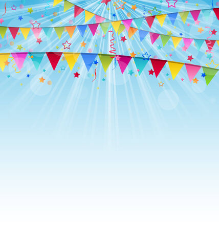 Illustration holiday background with birthday flags and confetti