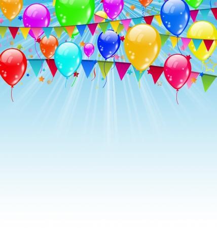 Illustratie, vakantie achtergrond met verjaardag vlaggen en confetti in de blauwe hemel