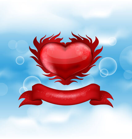 Illustration red heart on blue sky background for Valentines day Vector