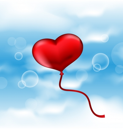 Illustration balloon in the shape of heart in blue sky Vector
