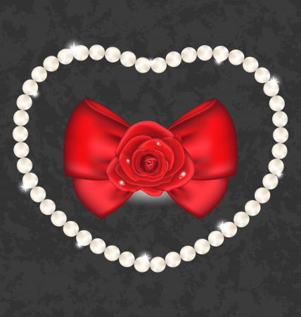 nacre: Illustration red rose with bow and pearls for Valentine Day Illustration