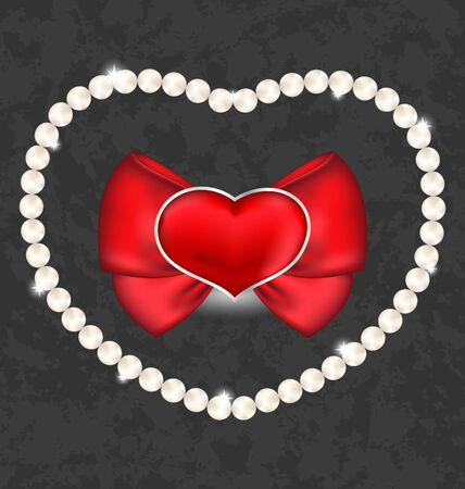 nacre: Illustration red heart with bow and pearls for Valentine Day