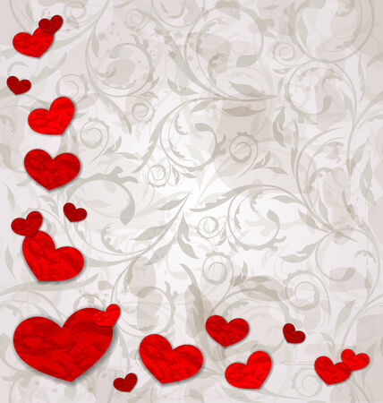 Illustration set crumpled paper hearts on grunge floral background Vector