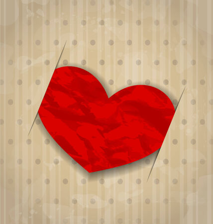 Illustration red crumpled paper heart for Valentine Day Vector