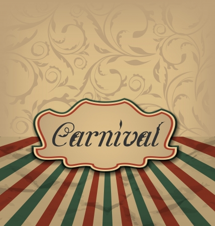 Illustration vintage card with advertising header for carnival - vector Vector