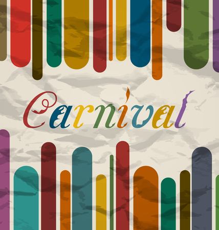 Illustration old colorful card with text for carnival festival - vector Vector
