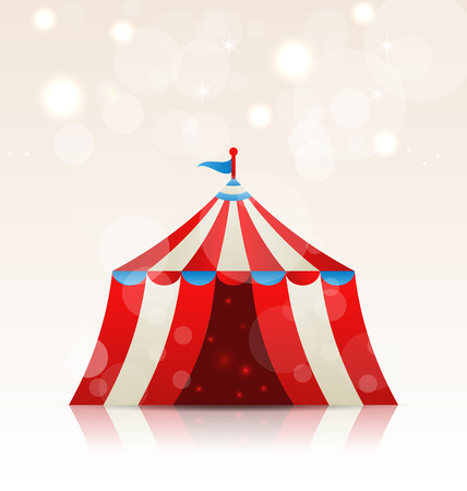 Illustration open circus stripe entertainment tent - vector Vector