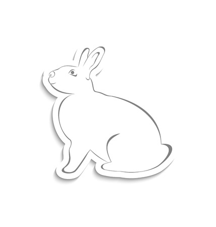ostern: Illustration Easter greeting rabbit isolated on white background - vector