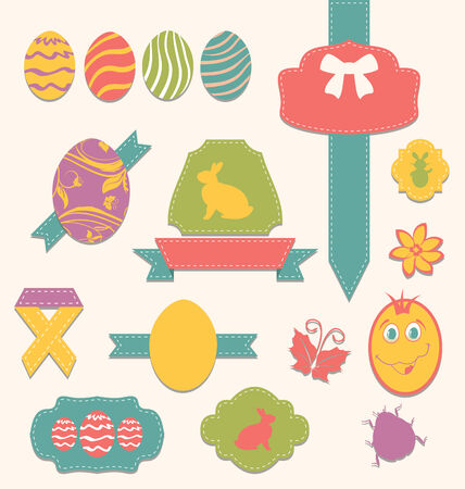 pascua: Illustration Easter scrapbook set - labels, ribbons and other elements (2) - vector