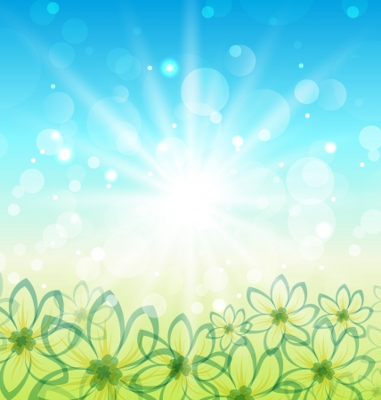 Illustration spring nature background with flowers - vector Vector