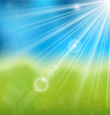 Illustration spring nature background with lens flare - vector Vector