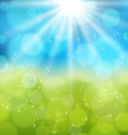 Illustration sunny natural background with lens flare - vector Vector