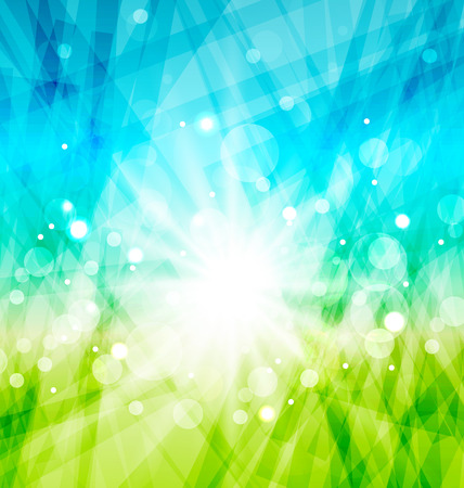 Illustration modern abstract background with sun rays - vector Vector