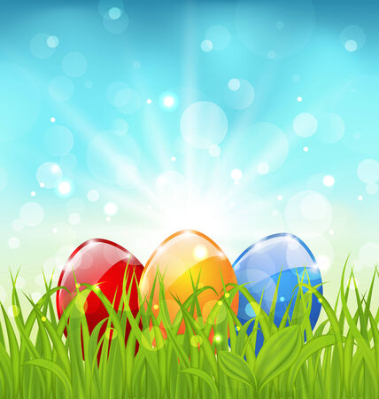 pascua: Illustration april background with Easter colorful eggs  - vector Illustration