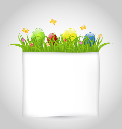 Illustration Easter colorful eggs in green grass with empty paper for your text - vector Vector
