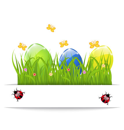 pascua: Illustration Easter colorful eggs in green grass with space for your text - vector