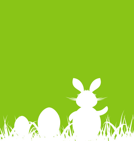 Ostern: Illustration cartoon green background with Easter rabbit and eggs - vector Illustration