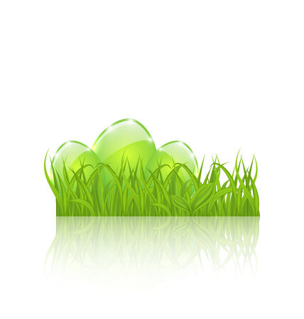 pascua: Illustration Easter set eggs in green grass isolated on white background - vector