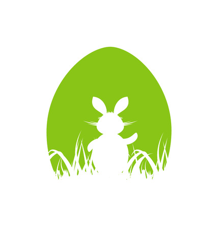 pascua: Illustration cartoon Easter poster with rabbit and grass - vector