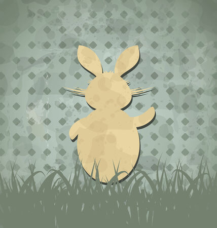 ostern: Illustration Easter happy vintage poster with rabbit and grass - vector Illustration