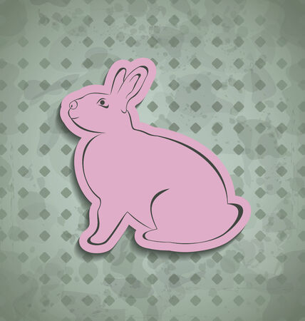 pascua: Illustration Easter happy vintage poster with pink bunny - vector