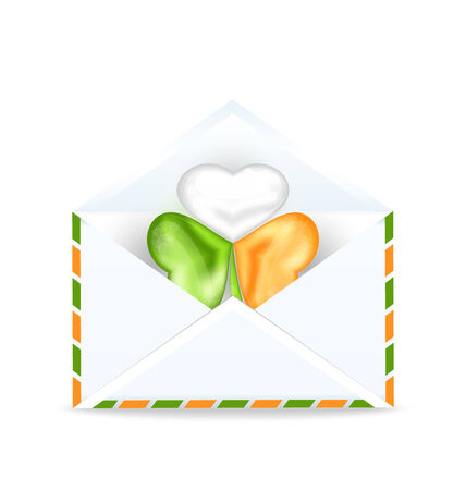 Illustration envelope with clover in Irish flag color for St. Patricks Day - vector Vector