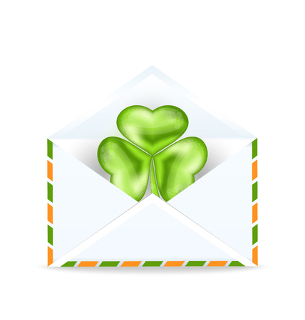 Illustration envelope with clover isolated on white background  for St. Patrick's Day - vector Stock Vector - 25529452