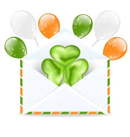Illustration envelope with clover and colorful ballons isolated on white background  for St. Patrick's Day - vector Vector