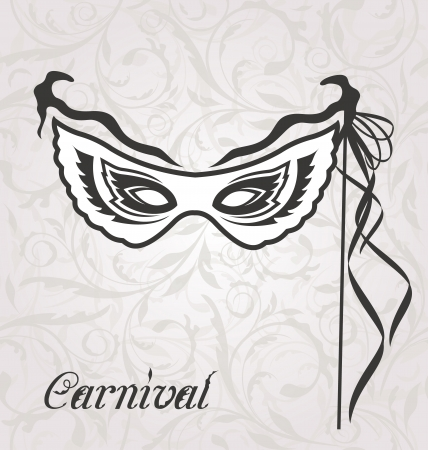 venetian carnival: Illustration venetian carnival or theater mask with ribbons  - vector