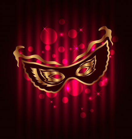 carnival mask: Illustration carnival or theater mask on glowing background - vector