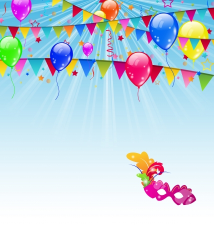 Illustration carnival background with flags, confetti, balloons, mask  - vector Vector