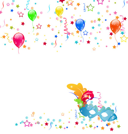 Illustration carnival background with mask, confetti, balloons  - vector Vector