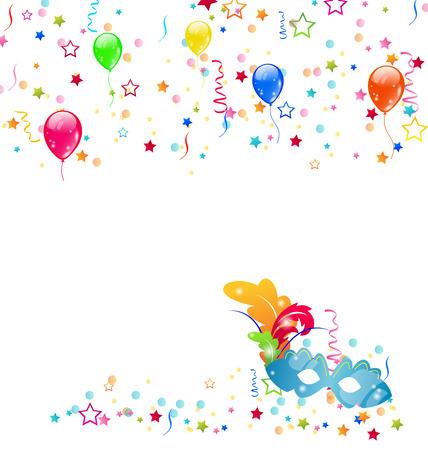 parade confetti: Ilustraci�n de fondo de carnaval con m�scara, confeti, globos - vector