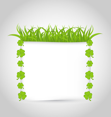 Illustration nature invitation with grass and shamrocks for St. Patricks Day - vector