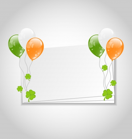 Illustration celebration card with balloons in Irish flag color for St. Patricks Day - vector Vector