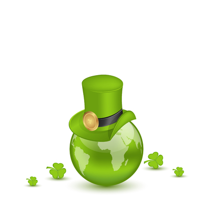 Illustration hat and shamrocks around Globe on St. Patricks Day - vector Vector