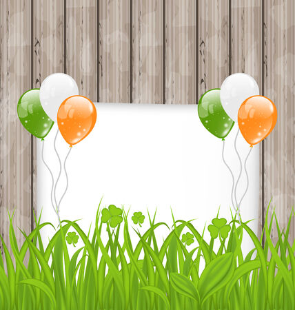 Illustration greeting card with grass and balloons in Irish flag color for St. Patricks Day - vector Vector
